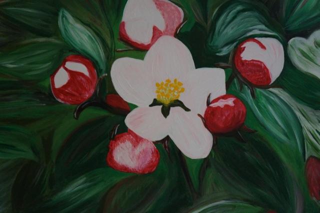 Kirschblüte, 40x50 cm, Acryl auf Leinwand