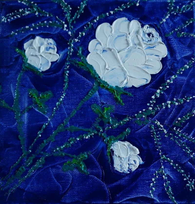 Rose weiß auf jeansblau, 20x20 cm, Öl gespachtelt auf Leinwand