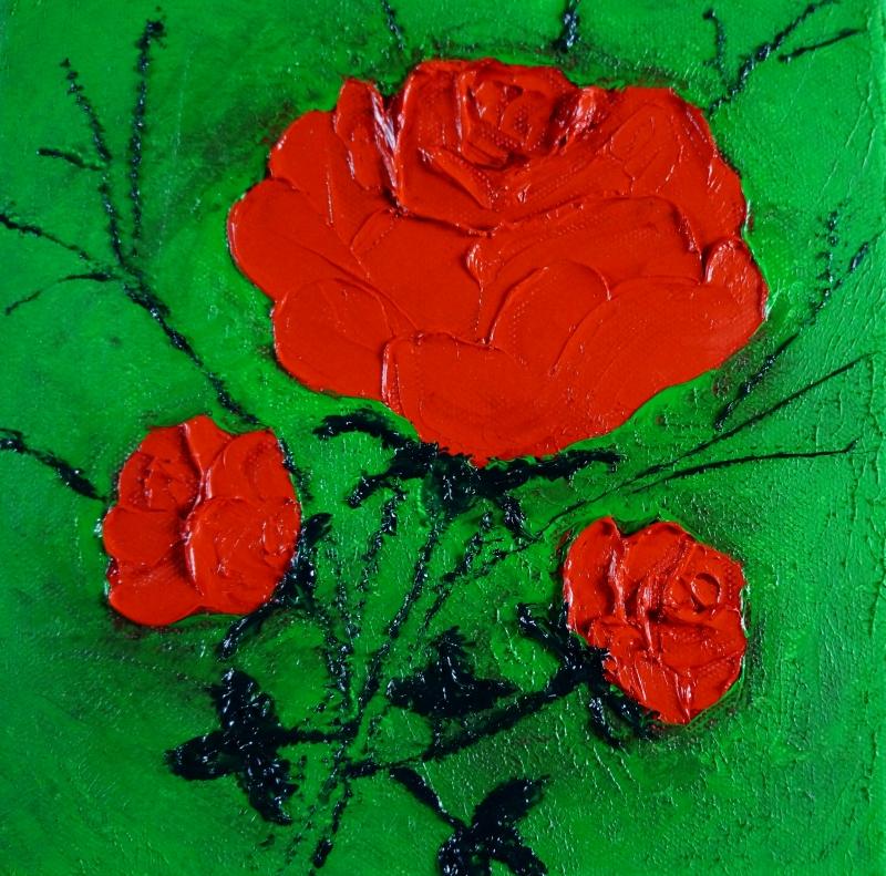 Rose rot auf hellgrün, 20x20 cm, Öl gespachtelt auf Leinwand