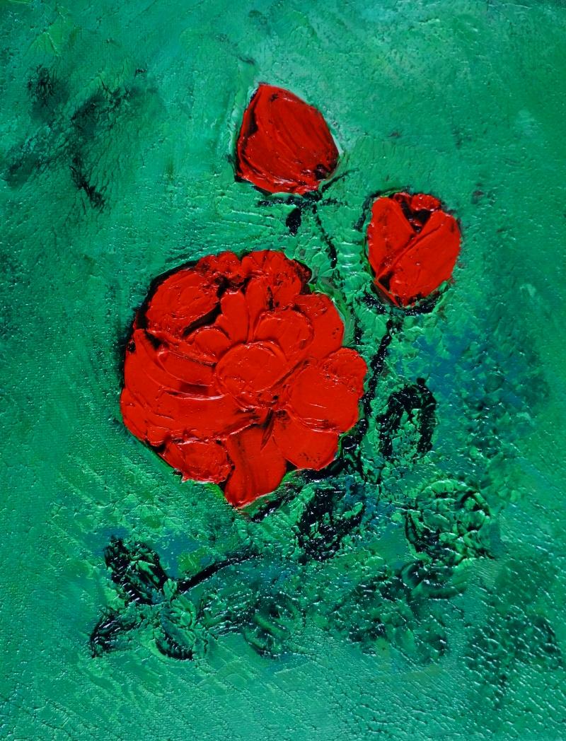 Rose rot auf grün30x24 cm, Öl gespachtelt auf Leinwand,