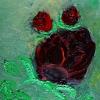 Rose dkl.rot auf grün, 30x24 cm, Öl gespachtelt auf Leinwand