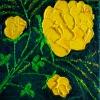 Rose gelb auf grün, 20x20 cm, Öl gespachtelt auf Leinwand