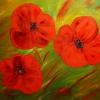 Mohnblüten, 70x100 cm, Öl gespachtelt auf Leinwand