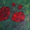 Rose rot auf dkl.grün, 40x30 cm, Öl gespachtelt auf Leinwand