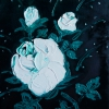 Rose weiß auf dkl.grün, 30x24 cm, Öl gespachtelt auf Leinwand