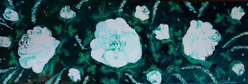 Rose weiß auf dkl.grün, 30x90 cm, Öl gespachtelt auf Leinwand