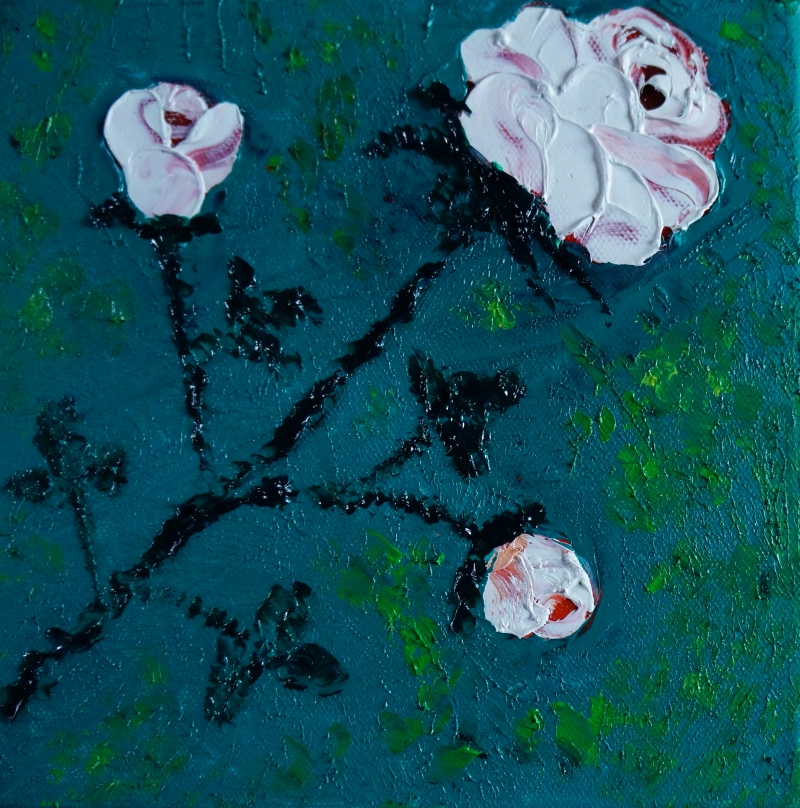 Rose weiß auf Türkis, 20x20 cm, Öl gespachtelt auf Leinwand