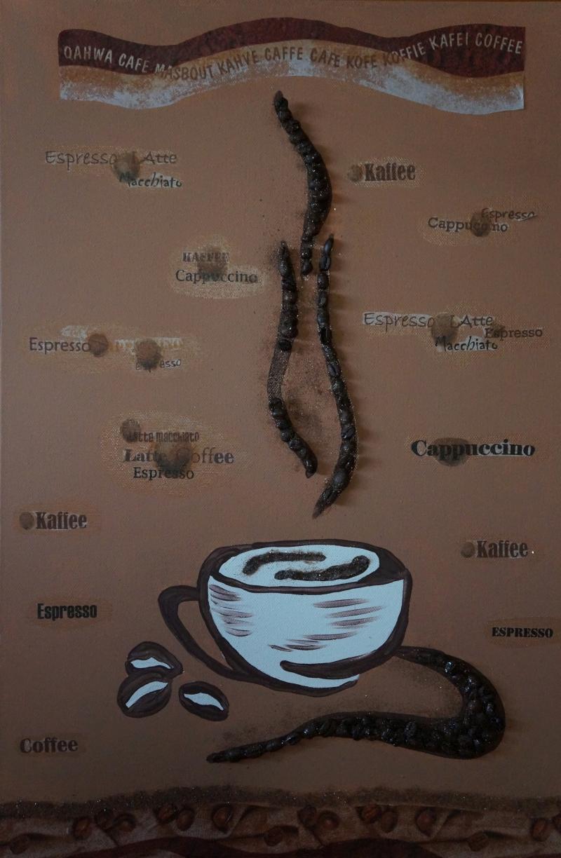 Cafe II, 60x50cm, Acryl/Kaffeebohnen, Servietten uf Leinwand