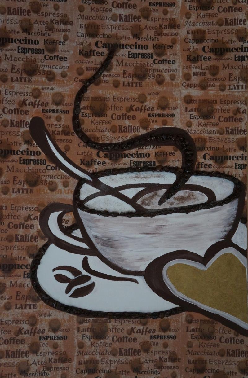 Cafe III, 60x50cm, Acryl/Kaffeebohnen, Servietten uf Leinwand