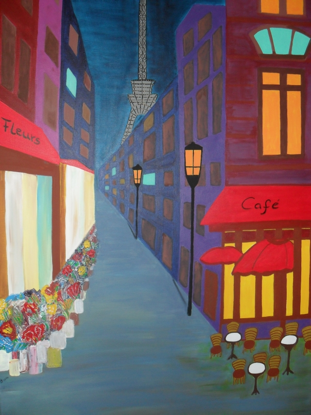 Cafe' in Paris, 100x70 cm, Acryl auf Leinwand