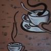 Cafe I, 60x50cm, Acryl/Kaffeebohnen, Servietten uf Leinwand