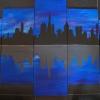 Skyline, 5tlg 90x150cm, Acryl auf Leinwand