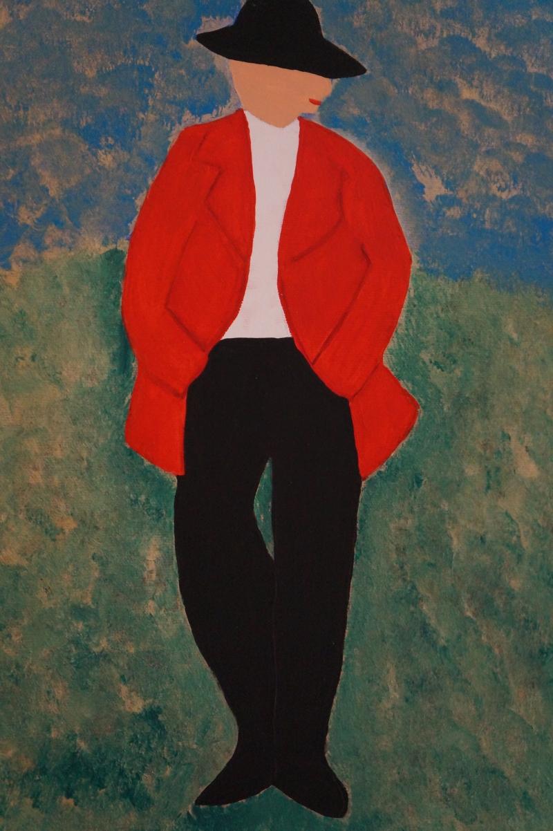 Mann, 30x24cm, Acryl auf Leinwand