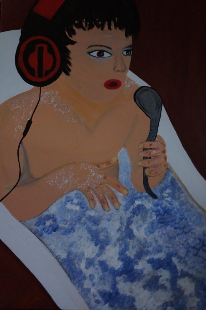 Musik in der Wanne, 100x70cm, Acryl auf Leinwand