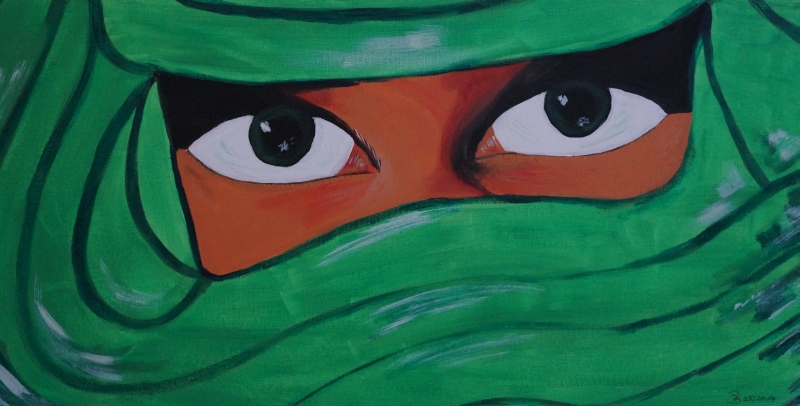 verschleierte Frau hellgrün, 30x60cm, Acryl auf Leinwand