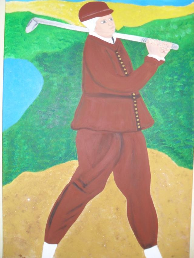 Golfer, 100x70 cm, Acryl/Sand auf Leinwand