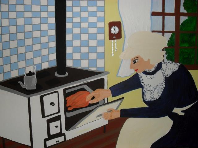 In der Küche, 70x100cm, Acryl auf Leinwand