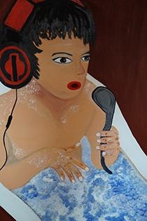 Musik in der Wanne, 100x70cm, Acryl/Spachtelmasse auf Leinwand