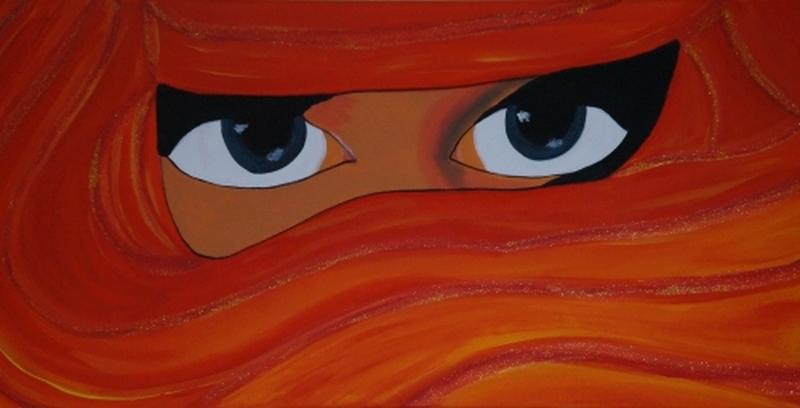 verschleierte Frau rot/orange, 30x60cm, Acryl auf Leinwand