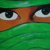 verschleierte Frau neongrün, 30x60cm, Acryl auf Leinwand