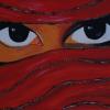 verschleierte Frau rot/Glitzer, 30x60cm, Acryl auf Leinwand