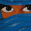 verschleierte Frau hellblau, 30x60cm, Acryl auf Leinwand