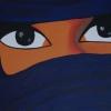 verschleierte Frau dkl.blau, 30x60cm, Acryl auf Leinwand