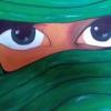 verschleierte Frau dkl.grün, 30x60cm, Acryl auf Leinwand