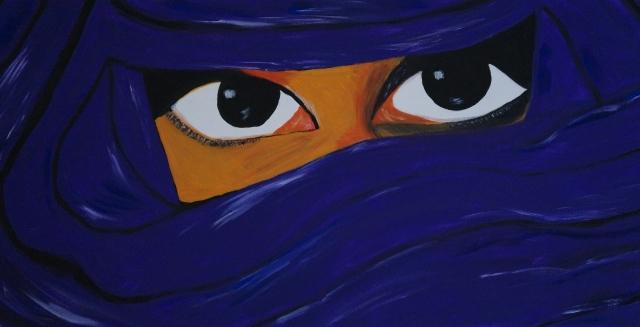verschleierte Frau lila, 30x60cm, Acryl auf Leinwand
