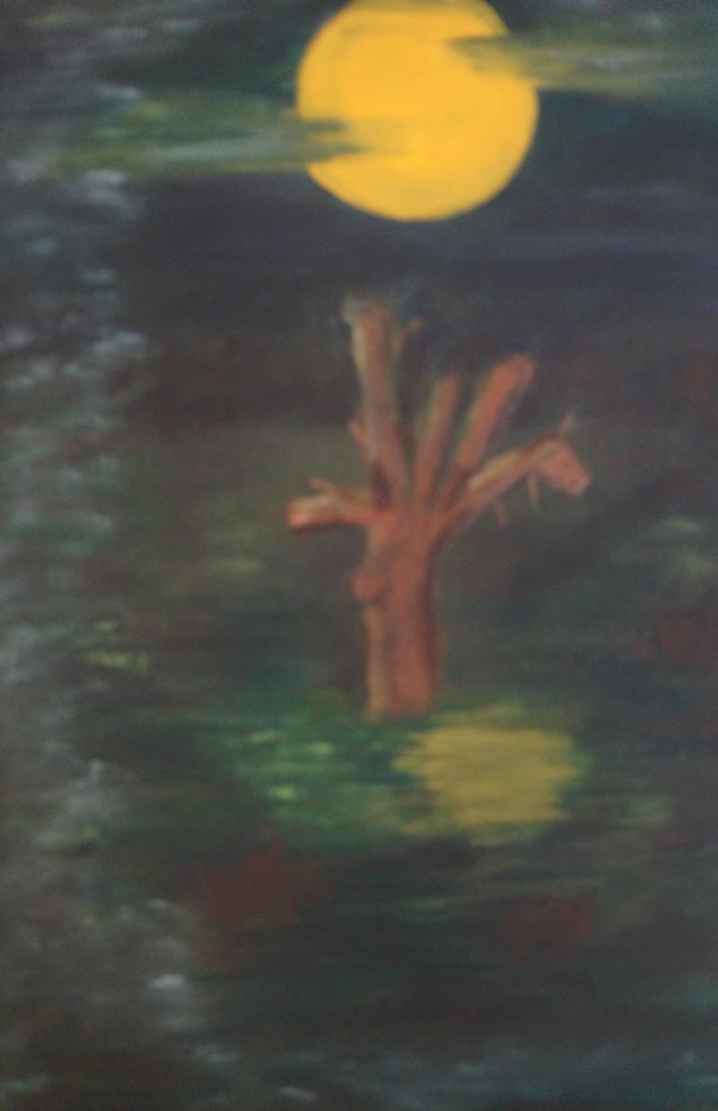 Nachts im Sumpf, 30x24cm, Acryl auf Leinwand