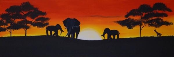 Savanne/Elefanten, 30x90cm, Acryl auf Leinwand