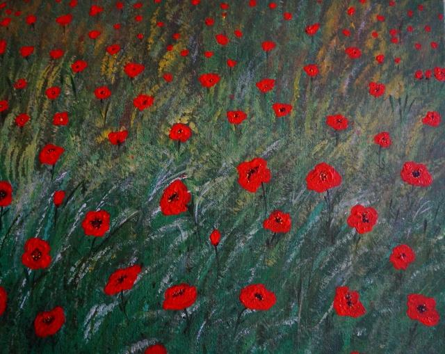 Mohnwiese, 40x50cm, Acryl auf Leinwand