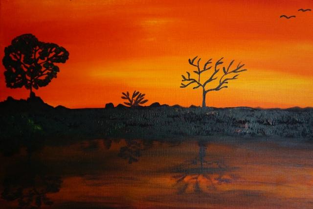 Sonnenuntergang am Fluss , klein, 40x50cm, Acryl auf Leinwand