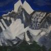 Gebirge, 70x100cm, Acryl/Spachtelmasse auf Leinwand