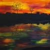 Sonnenaufgang am Fluss,70x100cm, Acryl auf Leinwand