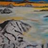 Über den Wolken, 70x100cm, Acryl/Spachtelmasse auf Leinwand