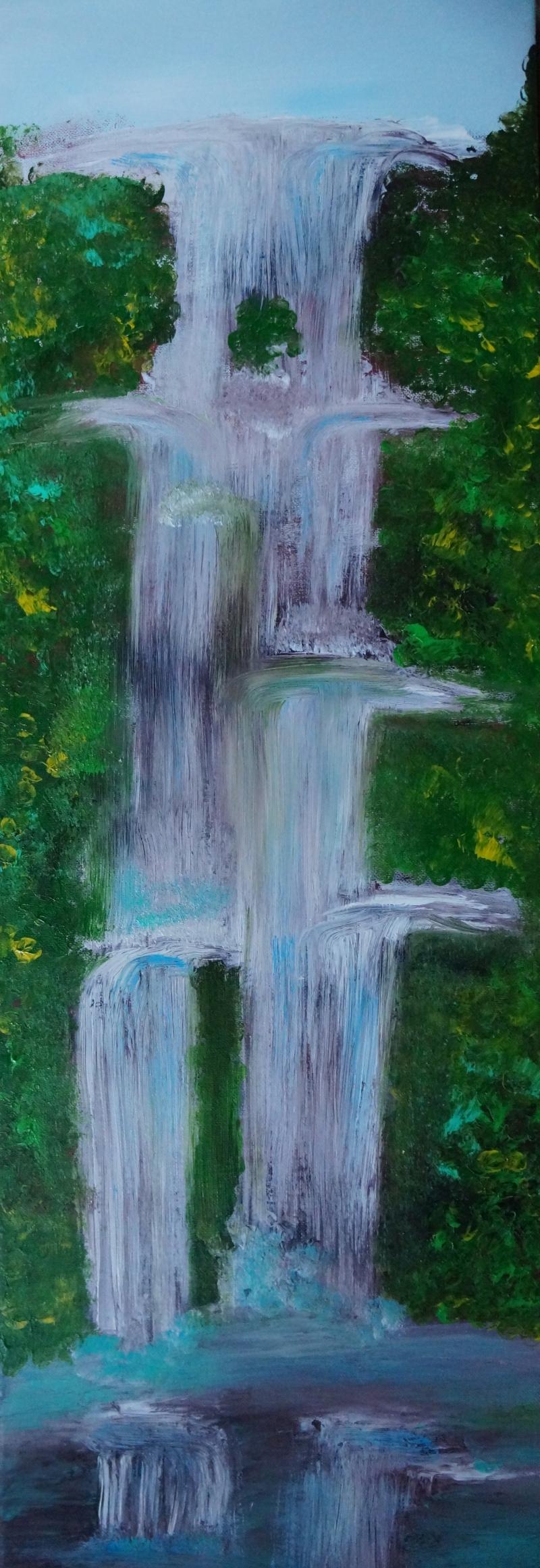 Wasserfall III,30x90cm, Acryl/Spachtelmasse auf Leinwand