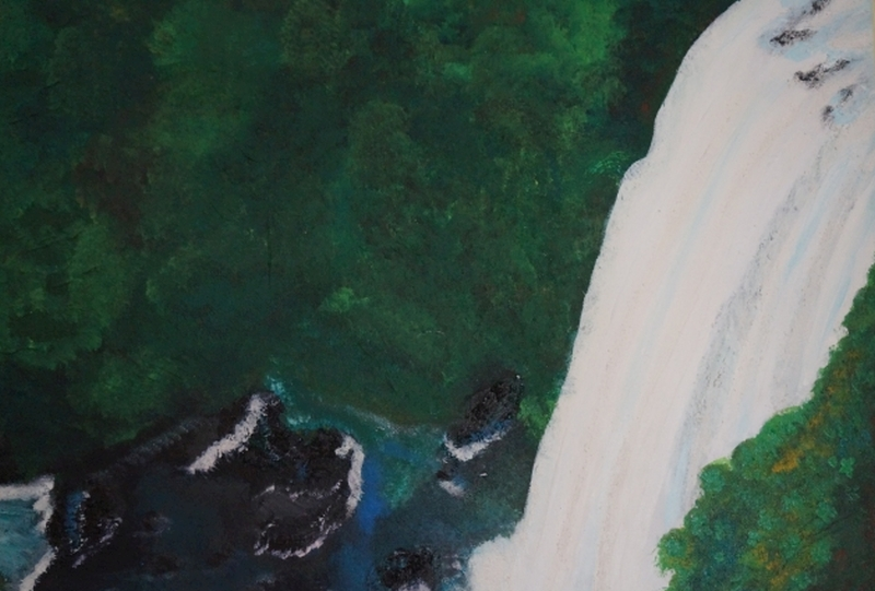 Wasserfall, 40x50cm, Acryl/Spachtelmasse auf Leinwand
