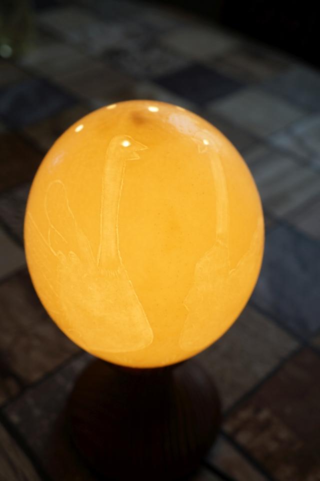 Straußenei 9 - als Lampenschirm geschliffen und gelocht- Motiv: Strauß , Bild 4