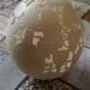 Straußenei 4 - als Lampenschirm geschliffen und gelocht- Motiv: Wein, Bild 6