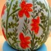 Straußenei, Motiv Blume rot