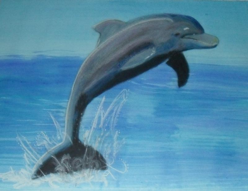 Delfin, A4, Aquarellfarbe und Pastellkreide auf Papier
