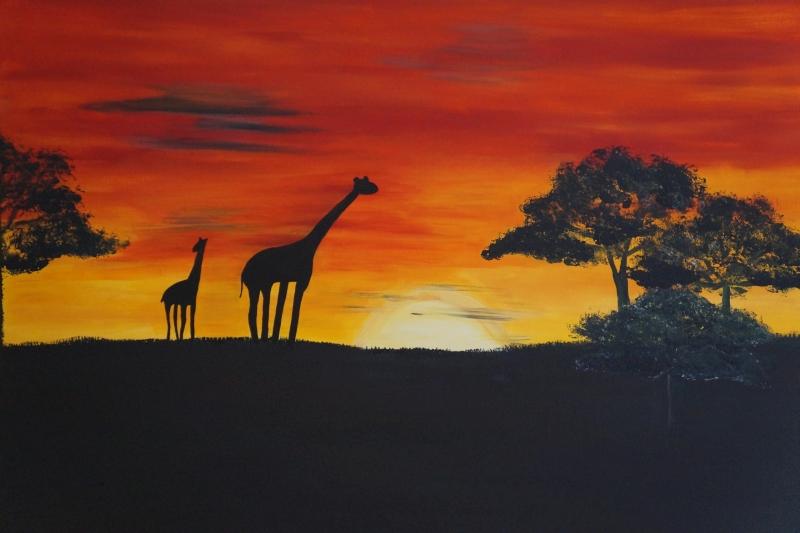 Savanne Giraffen, 70x100cm, Gepard,60x80cm, Acryl auf Leinwand
