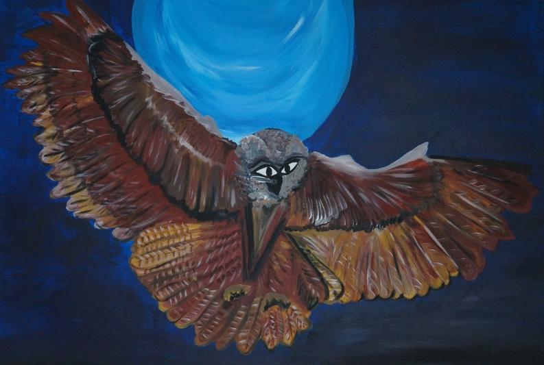 Nachtflug, 60x80cm, Acryl auf Leinwand