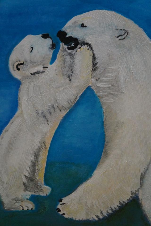 Küßchen Mami - Eisbären, 60x50cm, Acryl/Spachtelmasse auf Leinwand