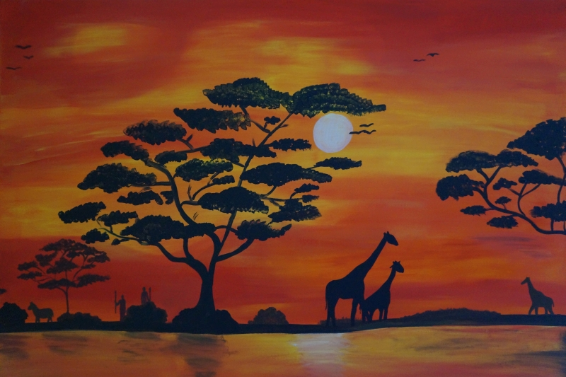 Savanne/Giraffen am Fluss, 70x100cm, Acryl auf Leinwand