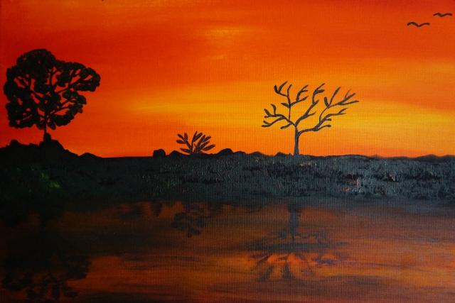 Sonnenuntergang am Fluss klein, 40x50cm,Acryl auf Leinwand