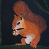 Eichhörnchen, 30x24cm, Acryl/Spachtelmasse auf Leinwand