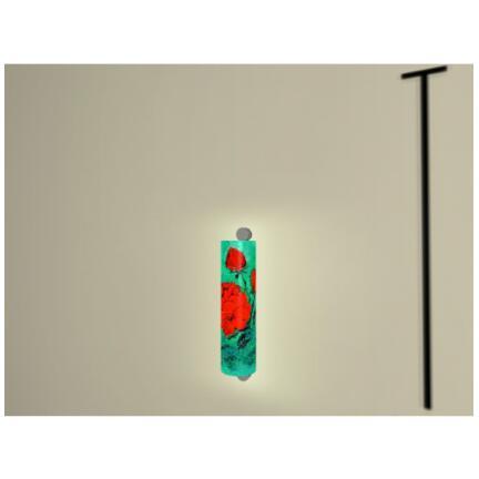 Motiv Rote Rose auf Hellgrün  Größe H36xB10cm